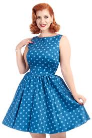 niagra blue polka dot tea dress lady vintage