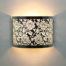 flower carved silver shade fancy wall lights for bedroom
