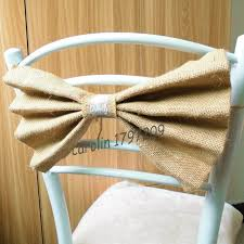 10pcs Lot Natural Jute Burlap Ribbon Bowknot Wedding Chair Decoration Rustic Centerpieces Vintage