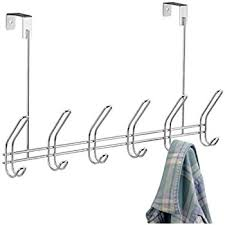 InterDesign Classico Over Door Organizer Hooks 6 Hook Storage Rack For Coats Hats Robes Or Towels Chrome