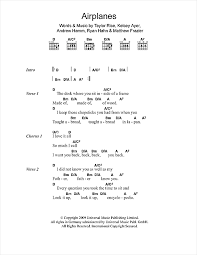 airplanes sheet music by local natives lyrics chords 103804