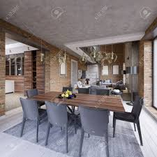 100 Living Room Table Modern Dining Room With Dining Table And Eight Chairs In A Loftstyle