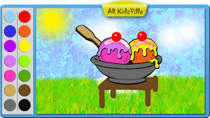 Learn Colors For Kids And Color Cup Ice Cream Coloring Page