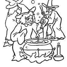 Happy Witch Halloween Night Flight Group Of Witches Preparing A Malefic Potion Coloring Page