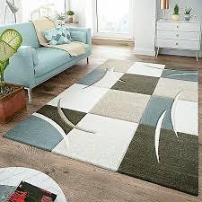 moderner teppich wohnzimmer kariert trendig pastell türkis