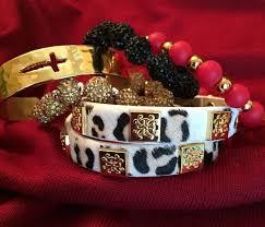 Rustic Cuff Meagen Calfskin Snow Leopard Wrap Bracelet GOLD NEW 82