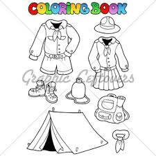 Coloring Book With Scout Clothes Vector Illus
