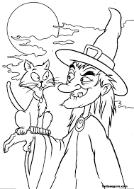 Coloring Pages Witches Cat Halloween For Adults Printable Free Pics