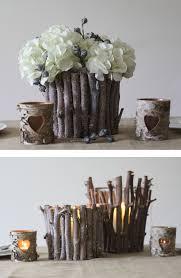 Rustic Wedding Table Decorations Centrepiece Twig Vases Lanterns Woodland