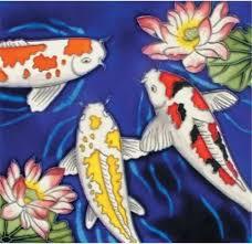 en vogue b 222 koi fish decorative ceramic tile 8 x8