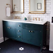 amazing white bathroom with blue mosaic floor tiles transitional