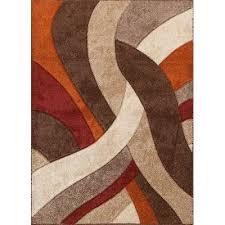 5 x 7 Medium Brown Orange & Red Area Rug Alpha