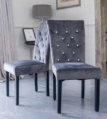 Pair Of Grey Velvet Rhinestone Diamante Upholstered Dining Chairs ... High End Velvet Button Upholstered Ding Chair Juliettes Interiors Which Is Better Or Leather For Chairs Modway Pose Gray Fabric Eei2577gry The Midcentury West Elm Uk Natalie Modern Classic Black Oak Frame Grey David Gold Leaf With Beige Seat By Carolina Cottage Julia Tufted Back Nail Head Amazoncom Meridian Fniture 783greenc Karina Collection Green Set Of Eight Neoclassical Style For Lotus Charcoal Interiors Online Donghia 8 Local Vault