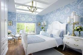 Light Blue Bedroom Wallpaper And Bedding