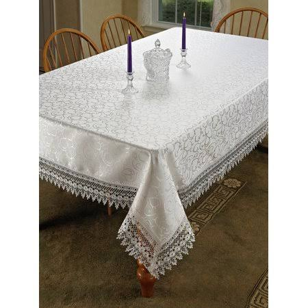 "Homecrate Flower Bow Vintage Lace Design Table Cloths, 70"" Round, White"