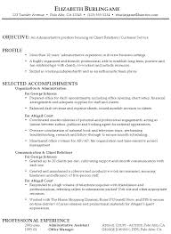 Resume Objectives Administrative Assistant For Profile With Selected Accomplishments And Professional Experience