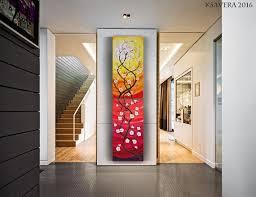 Vertical Wall Art Cherry Blossom Tree 50x200cm Painting Red Acrylic Original Contemporary