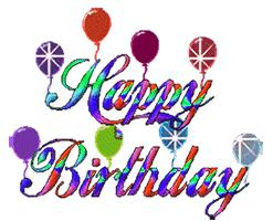 Happy Birthday with animated balloons