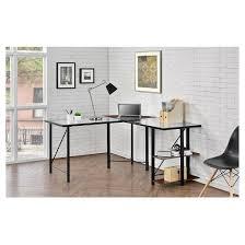 glass top l shaped corner desk cherry black altra target