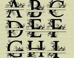 Split Letter SVG Split Monogram Letter Fancy Letter Modern