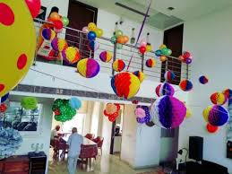 Birthday Decoration Home Ideas With Paper Honeycombs And Balloons
