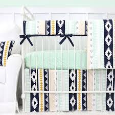 Mint Green Crib Bedding by Aztec Gold And Mint Bumperless Crib Bedding Caden Lane
