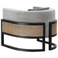 100 Contemporary Armchair Circular In Black Oakwood And Natural Cane For