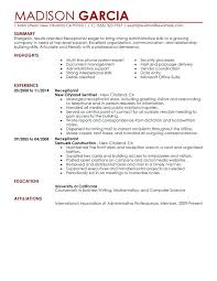 resume sle for front desk receptionist topshoppingnetwork com