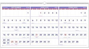 3 Month Horizontal Wall Calendar PM14