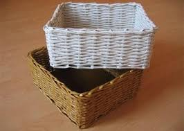 Picture Of Weaving Baskets With Newspaper
