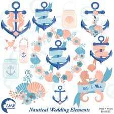 Nautical Clipart Coastal Wedding Clip Art Beach