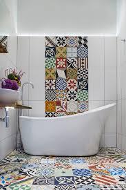 mosaic patterns bathroom mediterranean with hip rectangular wall