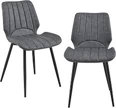 en casa 2x stühle dunkelgrau gepolstert in wildlederimitat lehnstuhl esszimmer stuhl polsterstuhl lounge set