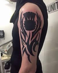 Tribal Thistle Half Sleeve Tattoo Black