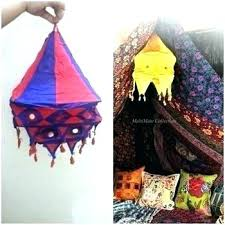 Bohemian Lamp Shades Fabric Cotton Outdoor Covers Square
