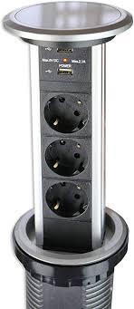 automatisch versenkbare steckdose für küche und büro mit touch funktion steckdosenleiste aus aluminium ideal für arbeitsplatte tischsteckdose mit