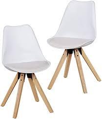 finebuy design esszimmerstühle 2er set weiß fb5057 skandinavische stühle mit holzbeinen retro stuhlset kunststoff küchenstühle mit kunstleder