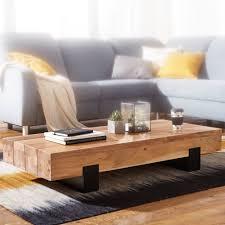 finebuy couchtisch saron 130x25x59 cm akazie massivholz metall sofatisch design wohnzimmertisch modern stubentisch braun schwarz designer