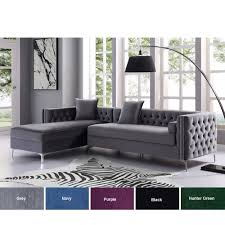 Lorenzo Velvet Chaise Sectional Sofa - 115