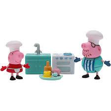 peppa küchen spielsets mit 2 figuren und zubehör peppa pig