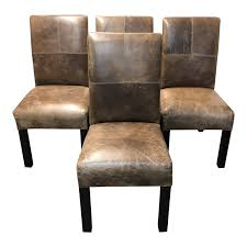 Custom Theodore Leather Dining Chairs, A Set Of Four. Original Price: $2,400