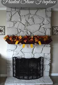 DIY Painted Stone Fireplace