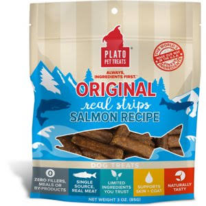 Plato Original Real Strips Salmon Recipe Dog Treats, 3 oz.