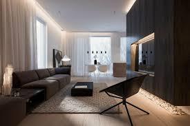 modernes wohnzimmer mit reduziertem design und dekoration