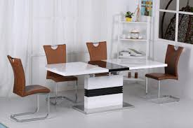 100 White Gloss Extending Dining Table And Chairs Black High And 6 Brown