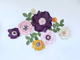 Purple Paper Flower Wall Decor Baby Kid Girl Nursery Bedroom Living Room Yellow Accent Dining Hanging Giant Floral