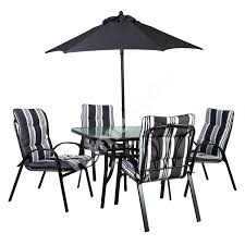 Garden Furniture Set QUATRO Table, 4 Chairs And Parasol, Black Steel Frame,  Grey-white Striped Cushions Aldridge High Gloss Ding Table White With Black Glass Top 4 Chairs Rowley Black Ding Set And Byvstan Leifarne Dark Brown White Fnitureboxuk Giovani Blackwhite Set Lorenzo Chairs Seats Cosco 5piece Foldinhalf Folding Card Garden Fniture Set Quatro Table Parasol Black Steel Frame Greywhite Striped Cushions Abingdon Stoway Fads Hera 140cm In Give Your Ding Room A New Look Rhonda With Inspire Greywhite Kids Chair