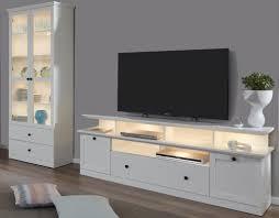 wohnwand baxter 3 teilig in weiß landhaus wohnkombination tv komforthöhe 273 x 196 cm