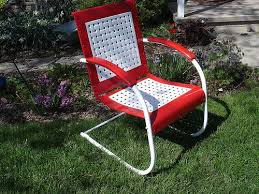 Webbed Lawn Chairs With Wooden Arms by Vintage Aluminum Yellow U0026 White Web Webbed Lawn Chair Wooden Arms