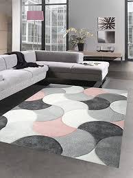carpetia designer teppich wohnzimmerteppich kurzflor tropfen rosa grau größe 80 x 300 cm